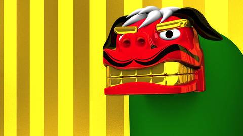 Lion Dance On Gold Text Space 動画素材, ムービー映像素材