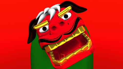 Lion Dance On Red Background Animation
