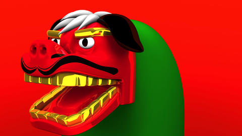 Lion Dance On Red Background 動画素材, ムービー映像素材