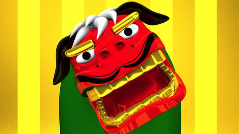 Lion Dance On Gold Background CG動画素材