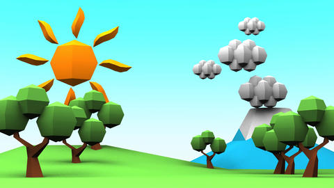 Loopable Idyllic Scenery Low Poly Animation Animation
