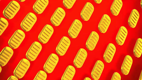 Loopable Oval Gold Coins On Red Background Animation