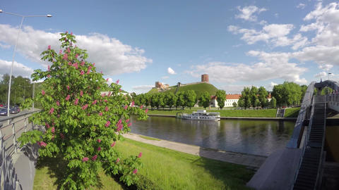 historical Gediminas hill, Neris river and bridge in Vilnius, Lithuania. Time Footage