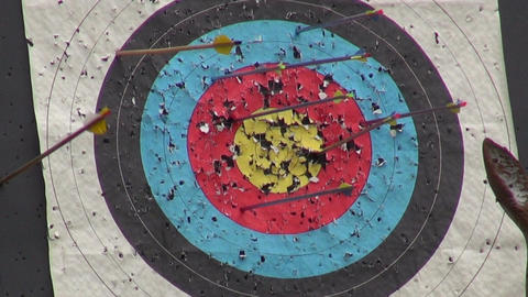 Arrow hit ring in archery target Footage