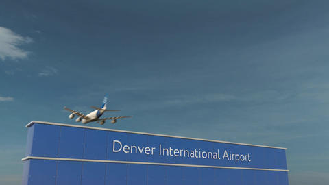 Commercial airplane landing at Denver International Airport 3D conceptual 4K Footage
