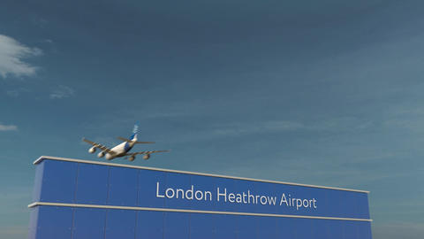 Commercial airplane landing at London Heathrow Airport 3D conceptual 4K Footage
