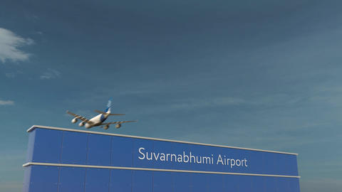Commercial airplane landing at Suvarnabhumi Airport 3D conceptual 4K animation Footage