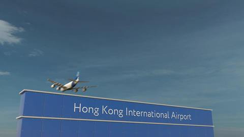 Commercial airplane landing at Hong Kong International Airport 3D conceptual 4K Footage