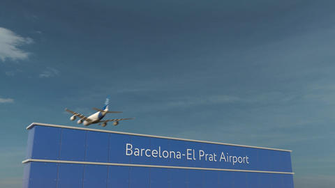 Commercial airplane landing at Barcelona-El Prat Airport 3D conceptual 4K Footage