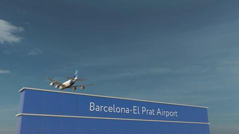 Commercial airplane landing at Barcelona-El Prat Airport 3D conceptual 4K Footage