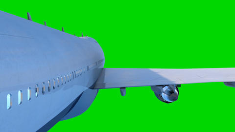 The passenger airplane flies on green background Animation