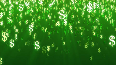 Animation of multi color Dollar Signs Falling on green background Animation