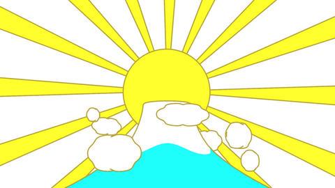 Mountain And Sun White Background, Stock Animation