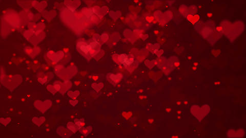 Valentine's day red Hearts and glitter lights or bokeh particles loopable Animation
