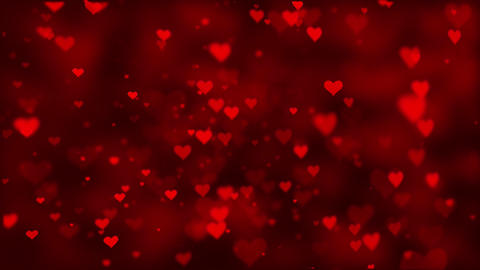 Abstract Red flying hearts and particles Loopable Background Animation