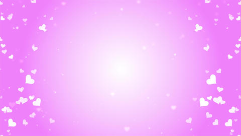 Valentines Day romantic dreamy white Heart particles with pink background Animation
