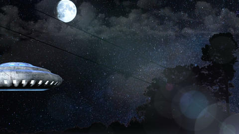 UFO flies over the night forest, Abstract Background Animation
