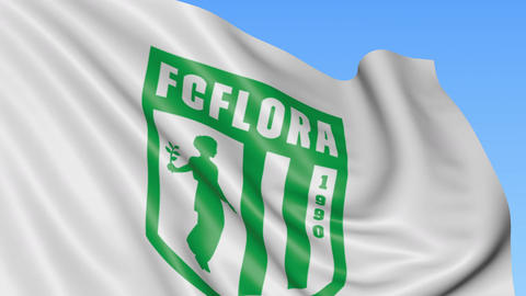 Close-up of waving flag with FC Flora football club logo, seamless loop, blue Footage