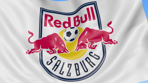 Close-up of waving flag with FC Red Bull Salzburg football club logo, seamless Footage