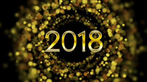Glowing golden particles New Year 2018 video animation Image
