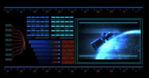 Futuristic Hud with Computer Data Screen design element Animation