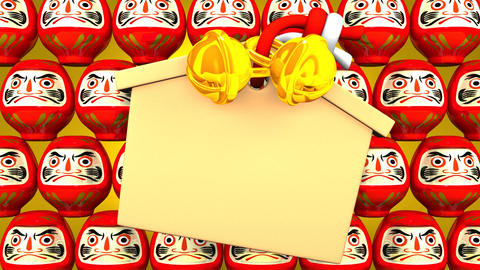 Red Daruma Dolls And Votive Picture On Yellow Background CG動画