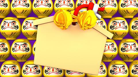 Yellow Daruma Dolls And Votive Picture On Purple Background CG動画