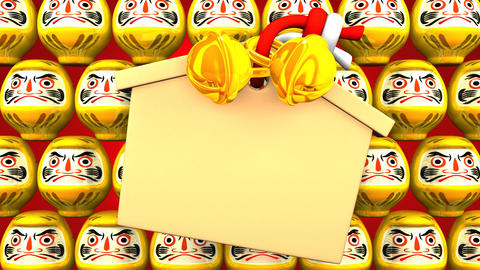 Yellow Daruma Dolls And Votive Picture On Red Background Animación