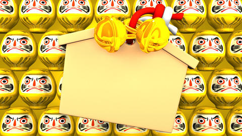 Yellow Daruma Dolls And Votive Picture On Yellow Background Animation
