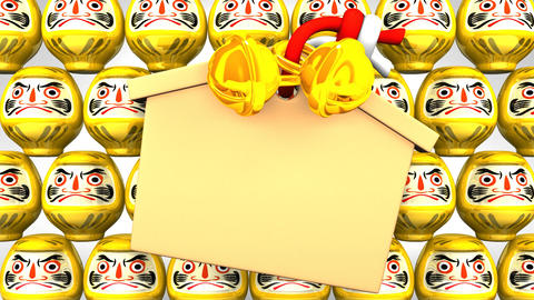 Yellow Daruma Dolls And Votive Picture On White Background CG動画素材