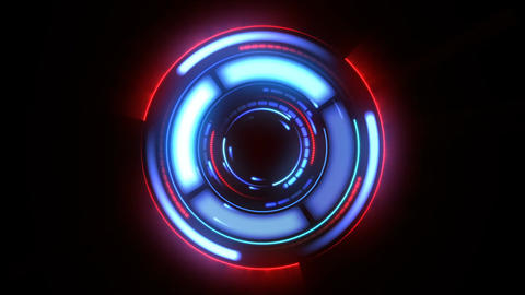 Beautiful Futuristic HUD With Flashes and Glow. Looped Rotating Elements Red and Animation