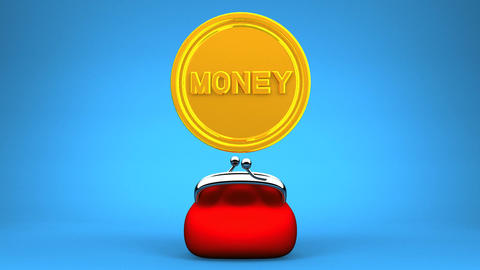 Purse And Coin On Blue Background CG動画