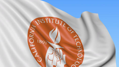 Close-up of waving flag with California Institute of Technology emblem, seamless Footage