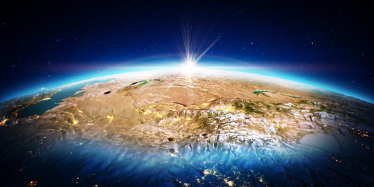 Central Asia. 3D rendering Foto
