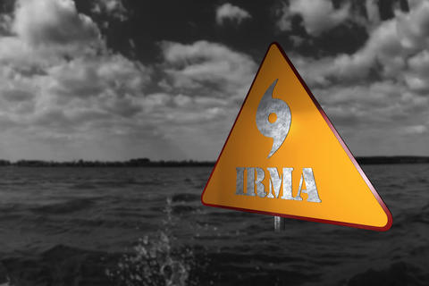 Hurricane Irma Danger Sign and Storm In The Background 3D Render Photo