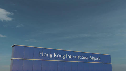 Commercial airplane taking off at Hong Kong International Airport 3D conceptual Footage