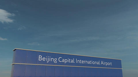 Commercial airplane taking off at Beijing Capital International Airport 3D Footage