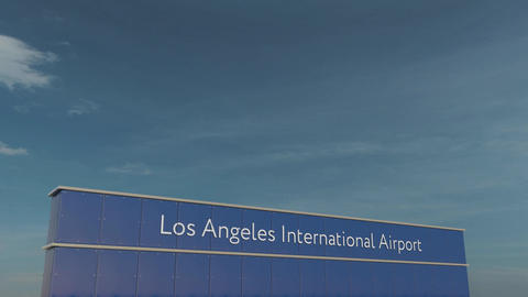 Commercial airplane taking off at Los Angeles International Airport 3D Footage