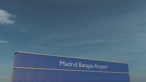 Commercial airplane taking off at Madrid Barajas Airport 3D conceptual 4K Footage