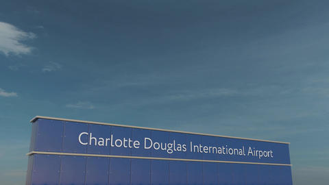 Commercial airplane taking off at Charlotte Douglas International Airport 3D Footage