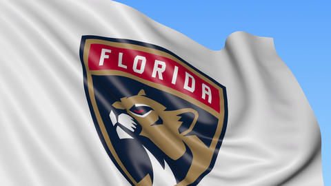 Close-up of waving flag with Florida Panthers NHL hockey team logo, seamless Footage