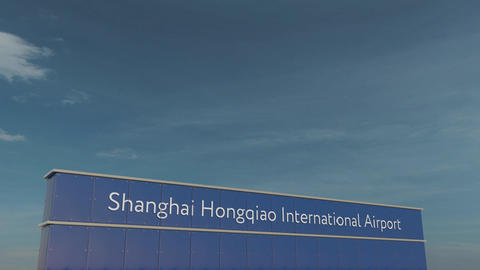 Commercial airplane taking off at Shanghai Hongqiao International Airport 3D Footage