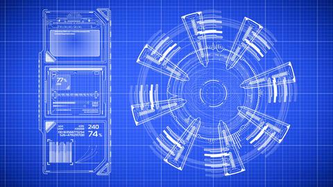 Beautiful Animation of Futuristic Blueprint Drawing. Head-up Display Computer Animation