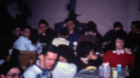 1962: Milk cartoons on every table ice cream social cookie party Footage