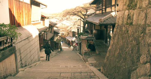 Old Kyoto Street At Dawn Sliding Shot stock footage