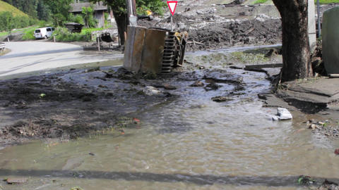 Mudslides scar the hillsides of Austria following heavy rain. Europe, Salzburg Footage