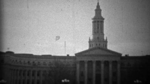 1933: Civic Center Courthouse downtown classic building architecture Footage