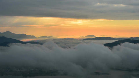 Timelapse of Seoraksan mountains is covered by morning fog and sunrise in Seoul Footage