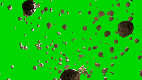 Flying Asteroids on a Green Screen Background Animation