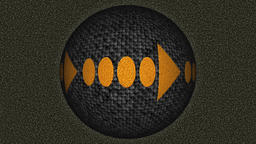 Decorative black and orange video with rotating sphere and right arrow Animación